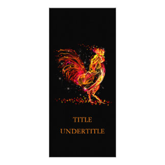 Fire rooster. Flaming animal sparkle cool design Rack Card