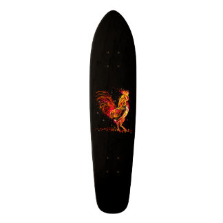 Fire rooster. Flaming animal sparkle cool design Skateboard Deck