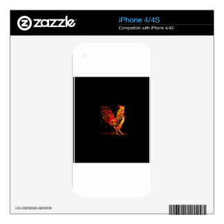 Fire rooster. Flaming animal sparkle cool design Skin For iPhone 4