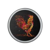 Fire rooster. Flaming animal sparkle cool design Speaker