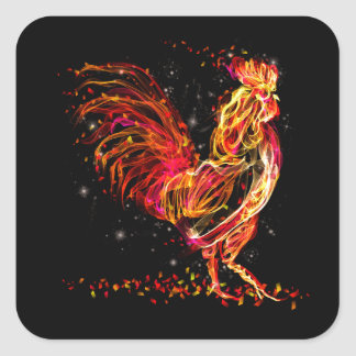Fire rooster. Flaming animal sparkle cool design Square Sticker
