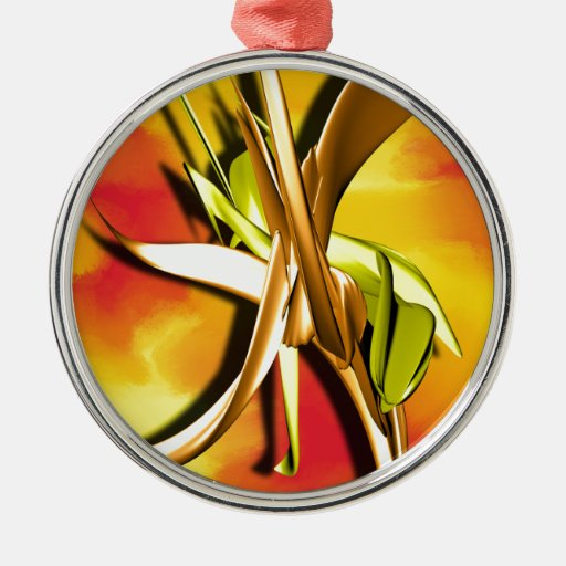 Fire Round Metal Christmas Ornament