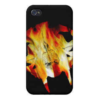 Fire Saber Tooth Cat Skull iPhone4 iPhone 4/4S Covers