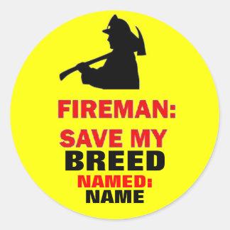 Fire Safety Custom Save My Pet Classic Round Sticker
