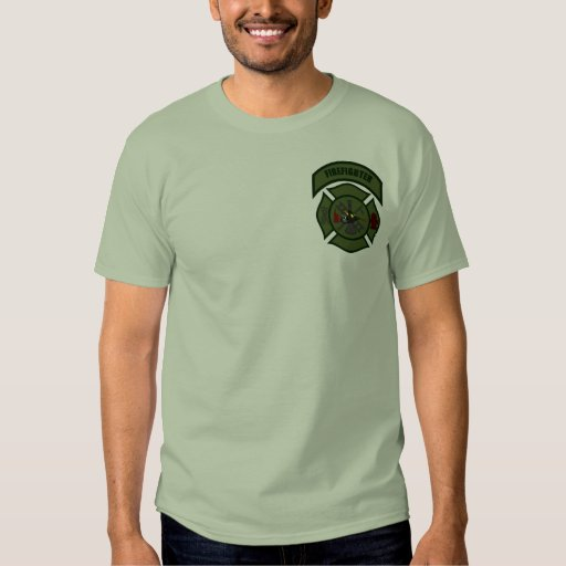 Fire Shirt - Firefighter (Olive Drab on Green)