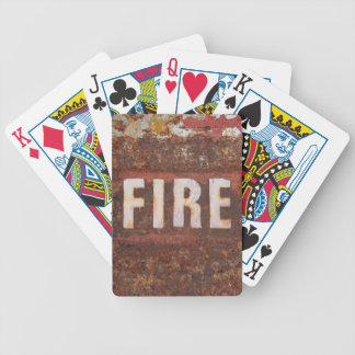 Fire sign on rusted steel plate. Gift for fireman? Bicycle Playing Cards