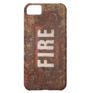 Fire sign on rusted steel plate. Gift for fireman? Case For iPhone 5C