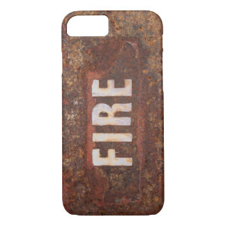 Fire sign on rusted steel plate. Gift for fireman? iPhone 8/7 Case