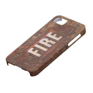 Fire sign on rusted steel plate. Gift for fireman? iPhone SE/5/5s Case