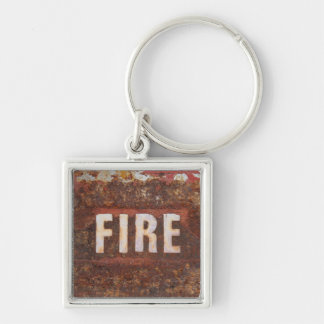 Fire sign on rusted steel plate. Gift for fireman? Key Chains