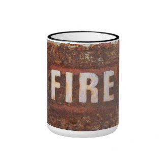 Fire sign on rusted steel plate. Gift for fireman? Mug