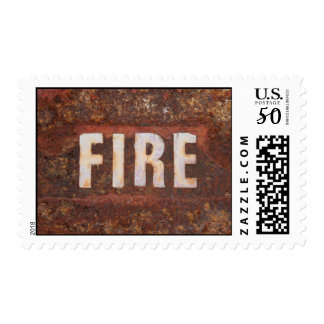 Fire sign on rusted steel plate. Gift for fireman? Postage