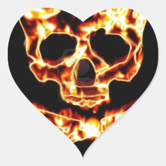 FIRE SKULL AND CROSSBONES HEART STICKER