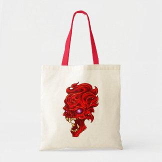Fire skull head skull fire tote bag