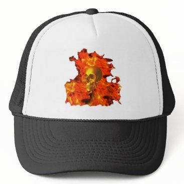 Halloween Themed Fire skull trucker hat