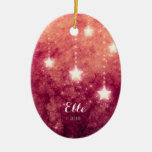 Fire Sky Christmas Moon Stars Picture Baby's First Ceramic Ornament