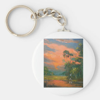 Fire Sky over the Pond Keychain