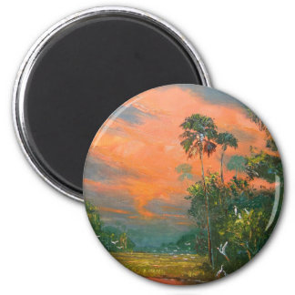 Fire Sky over the Pond Magnet