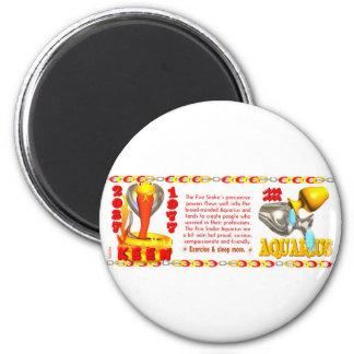 Fire Snake zodiac born 1977 Aquarius 2 Inch Round Magnet