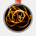 Fire Spinning - Celtic Knot Round Metal Christmas Ornament