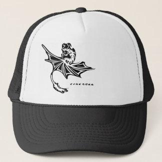 Fire Star Dragon Trucker Hat Black and White