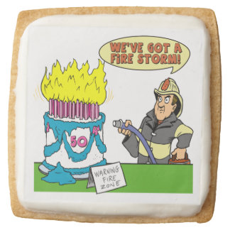 Fire Storm 50th Birthday Square Shortbread Cookie
