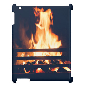 Fire Themed, Fireplace With Hot Flames Burns In Da Cover For The iPad 2 3 4