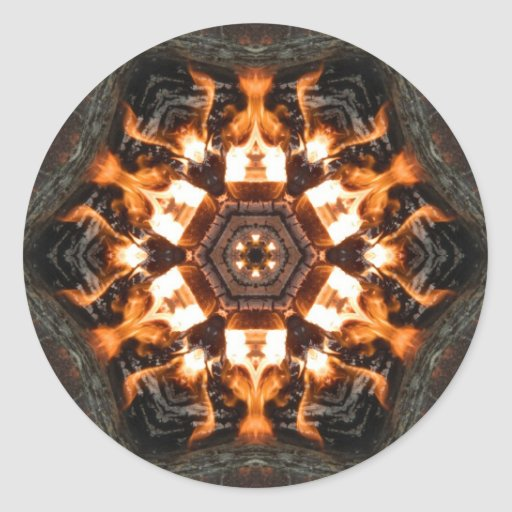 Fire tiles round stickers