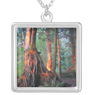 Fire Trees Square Pendant Necklace