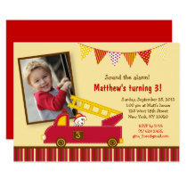 Fire Truck 1st Birthday Card