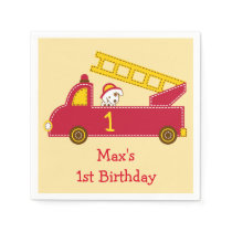 Fire Truck 1st Birthday Napkin