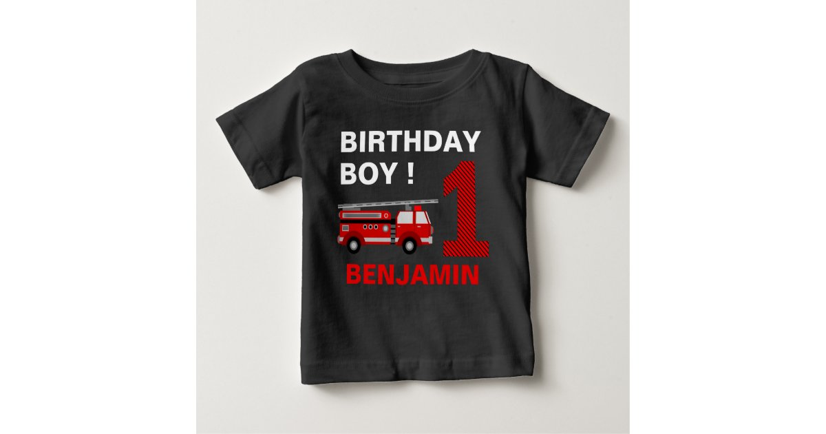 Boys Firetruck Birthday Shirt 1st Birthday Outfit Personalized Fire Truck Shirt Available in any age with any name