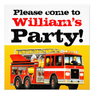 Fire Truck 1st Birthday Party Personalized Announcements