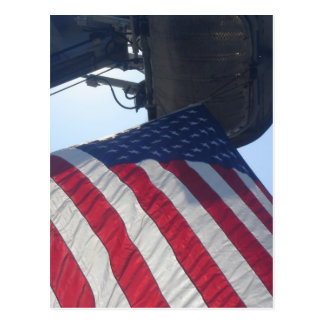 Fire Truck American Flag Aerial Tower Postcard