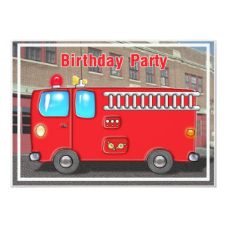 Fire Truck at  Station Birthday Invitation
