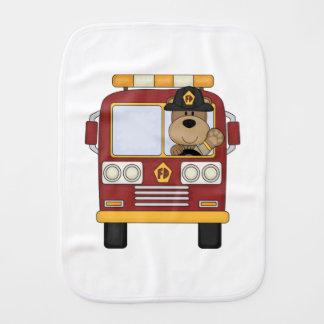 Fire Truck Bear Burp Cloth