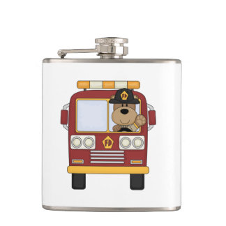 Fire Truck Bear Flask