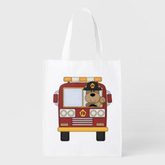 Fire Truck Bear Grocery Bags