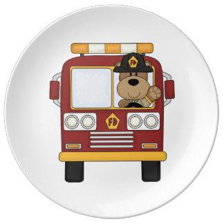 Fire Truck Bear Porcelain Plates