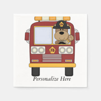 Fire Truck Bear Napkin