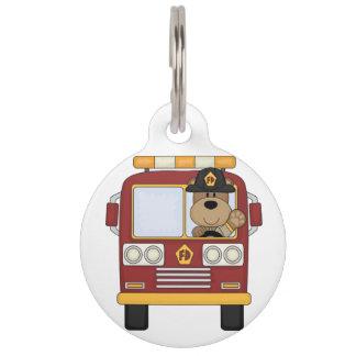 Fire Truck Bear Pet ID Tag