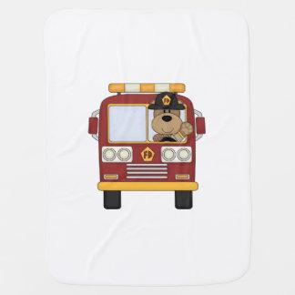 Fire Truck Bear Receiving Blanket