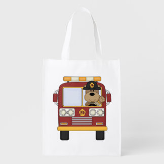 Fire Truck Bear Reusable Grocery Bag