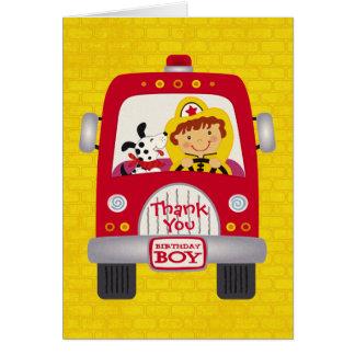 Fire Truck Birthday Boy Greeting Card