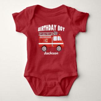 Fire Truck Birthday Boy Custom Baby Bodysuit