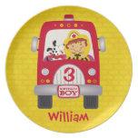 Fire Truck Birthday Boy Plates