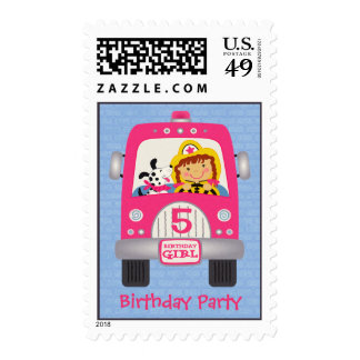 Fire Truck Birthday Girl Postage