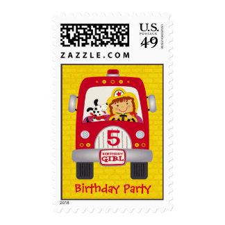 Fire Truck Birthday Girl v1 Postage
