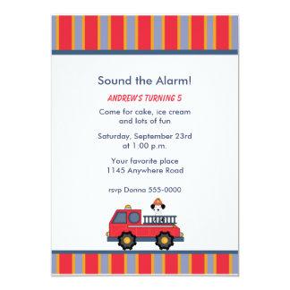 Fire Truck Birthday Party Invitation