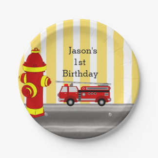 Fire truck birthday party paper plate